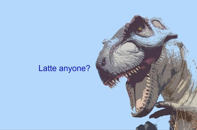 A Dinosaur Selling Lattes